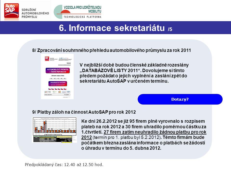 Dotazy? 6. Informace sekretariátu /5 8/ Zpracování souhrnného přehledu automobilového průmyslu za rok 2011 V nejbližší době budou členské základně roz