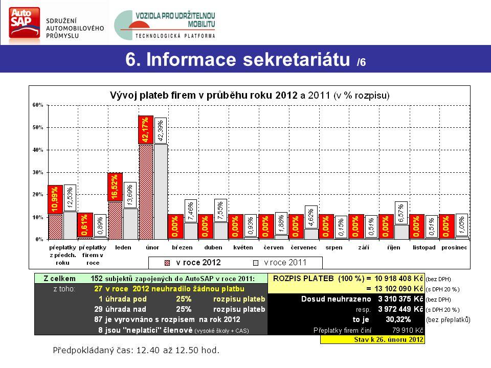 Dotazy? 6. Informace sekretariátu /6 8/ Zpracování souhrnného přehledu automobilového průmyslu za rok 2011 V nejbližší době budou členské základně roz