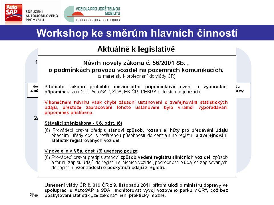 Workshop ke směrům hlavních činností Předpokládaný čas: 11.15 až 11.35 hod. 1/ Stručné výsledky workshopu: - vedoucí jednotlivých řídících týmů (každý