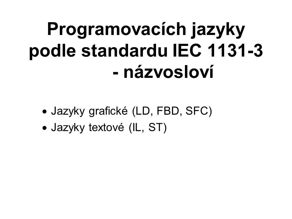 Programovacích jazyky podle standardu IEC 1131-3 - názvosloví  Jazyky grafické (LD, FBD, SFC)  Jazyky textové (IL, ST)