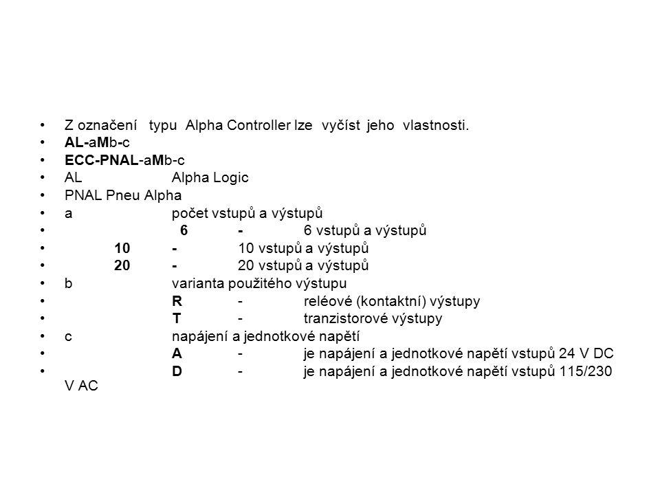 Z označení typu Alpha Controller lze vyčíst jeho vlastnosti.