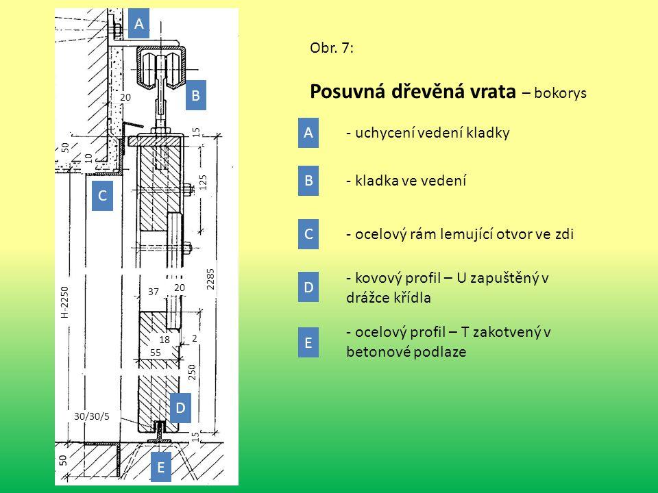 Obr. 7: Posuvná dřevěná vrata – bokorys 50 30/30/5 15 10 250 55 2 18 2285 20 37 H-2250 125 15 50 20 A A B B C C E D D E - ocelový profil – T zakotvený