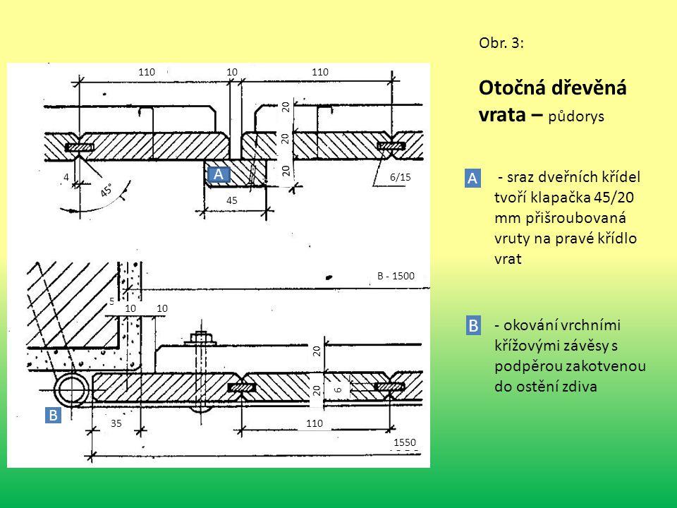 Obr. 3: Otočná dřevěná vrata – půdorys 110 10 110 4 45° 45 20 6/15 20 5 10 35 110 B - 1500 1550 6 A A - sraz dveřních křídel tvoří klapačka 45/20 mm p