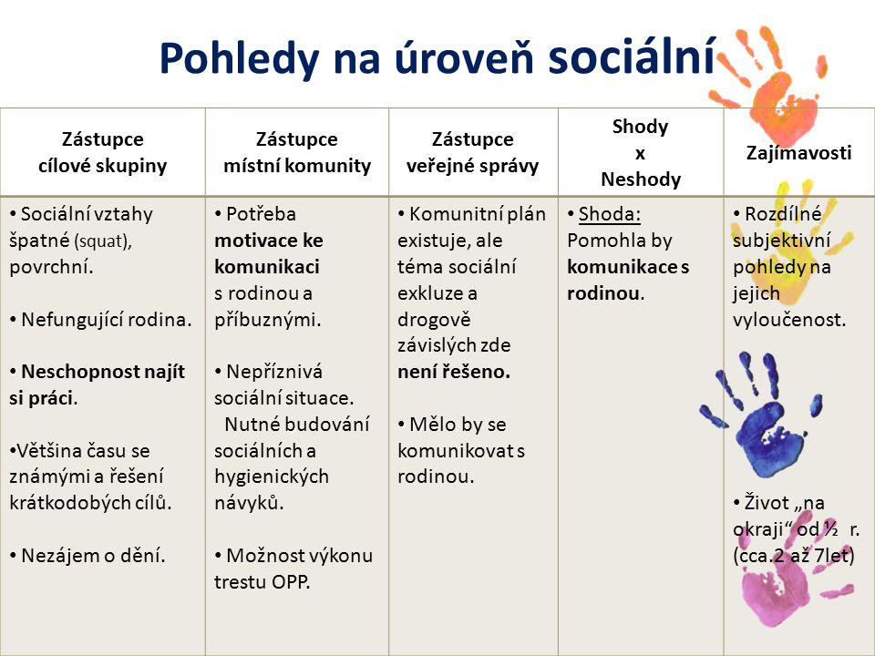 Pohledy na úroveň sociální Zástupce cílové skupiny Zástupce místní komunity Zástupce veřejné správy Shody x Neshody Zajímavosti S Sociální vztahy špatné (squat), povrchní.