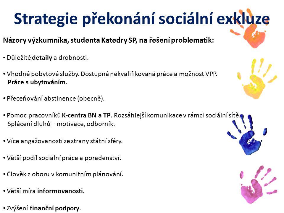 Strategie překonání sociální exkluze Názory výzkumníka, studenta Katedry SP, na řešení problematik: Důležité detaily a drobnosti.