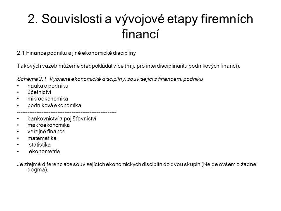 2. Souvislosti a vývojové etapy firemních financí 2.1 Finance podniku a jiné ekonomické disciplíny Takových vazeb můžeme předpokládat více (m.j. pro i