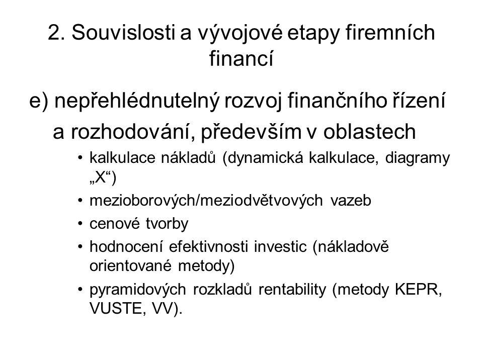 2. Souvislosti a vývojové etapy firemních financí e) nepřehlédnutelný rozvoj finančního řízení a rozhodování, především v oblastech kalkulace nákladů