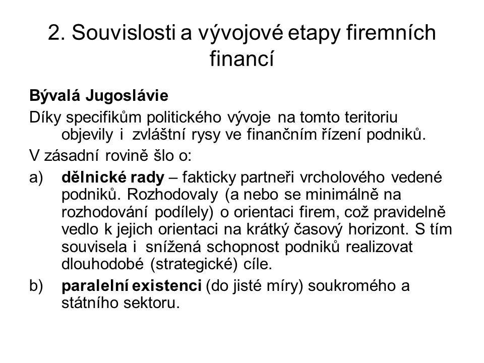 2. Souvislosti a vývojové etapy firemních financí Bývalá Jugoslávie Díky specifikům politického vývoje na tomto teritoriu objevily i zvláštní rysy ve