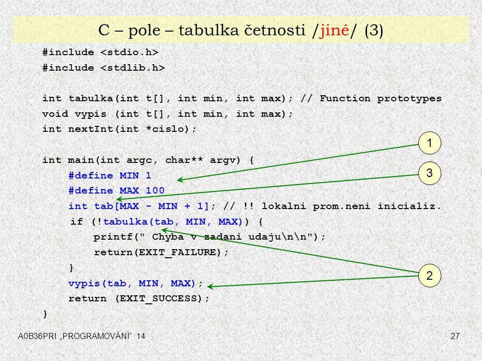 """A0B36PRI """"PROGRAMOVÁNÍ"""" 1427 C – pole – tabulka četnosti /jiné/ (3) #include int tabulka(int t[], int min, int max); // Function prototypes void vypis"""