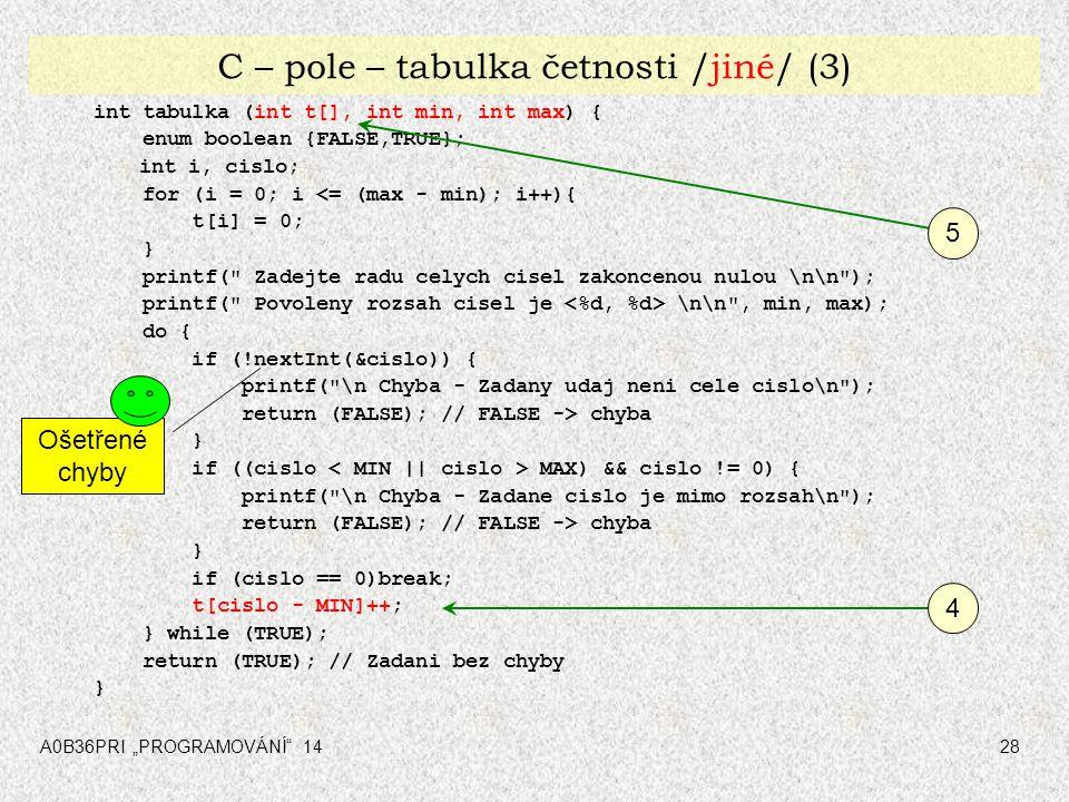 "A0B36PRI ""PROGRAMOVÁNÍ 1428 C – pole – tabulka četnosti /jiné/ (3) int tabulka (int t[], int min, int max) { enum boolean {FALSE,TRUE}; int i, cislo; for (i = 0; i <= (max - min); i++){ t[i] = 0; } printf( Zadejte radu celych cisel zakoncenou nulou \n\n ); printf( Povoleny rozsah cisel je \n\n , min, max); do { if (!nextInt(&cislo)) { printf( \n Chyba - Zadany udaj neni cele cislo\n ); return (FALSE); // FALSE -> chyba } if ((cislo MAX) && cislo != 0) { printf( \n Chyba - Zadane cislo je mimo rozsah\n ); return (FALSE); // FALSE -> chyba } if (cislo == 0)break; t[cislo - MIN]++; } while (TRUE); return (TRUE); // Zadani bez chyby } Ošetřené chyby 4 5"