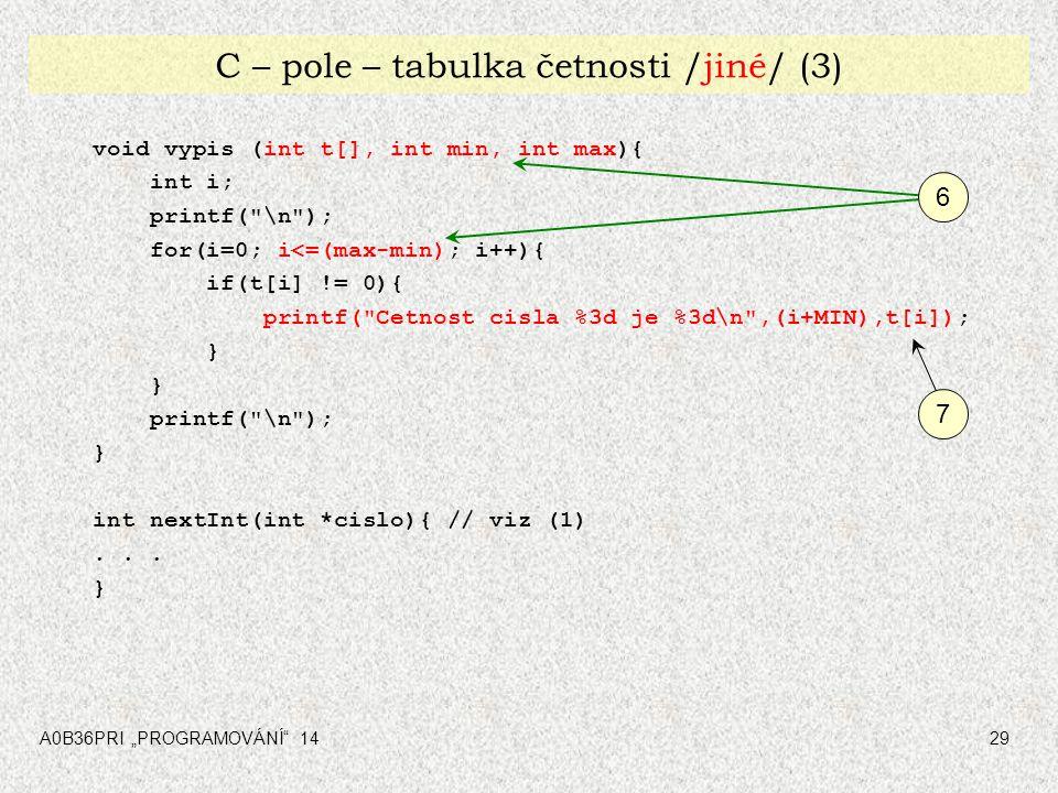 """A0B36PRI """"PROGRAMOVÁNÍ"""" 1429 C – pole – tabulka četnosti /jiné/ (3) void vypis (int t[], int min, int max){ int i; printf("""