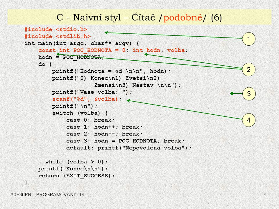 """A0B36PRI """"PROGRAMOVÁNÍ 1455 C – podmíněný překlad, ukazatel na funkce /jiné/ (12) int main(int argc, char** argv) { enum boolean {FALSE,TRUE}; int volba, hodnota; #if VERSE_CITACE == 1 do { // == Rozfazovany zapis cinnosti == volba = menu(); hodnota = (*citac.operace[volba])(); printf( \n Hodnota = %d \n\n , hodnota); } while(TRUE); #endif #if VERSE_CITACE == 2 do { // == Kompaktni zapis cinnosti == printf( \n Hodnota = %d \n\n ,(*citac.operace[menu()])()); } while(TRUE); #endif #if VERSE_CITACE == 3 do { // == Kompaktni zapis cinnosti == pomoci typedef Tconter printf( \n Hodnota = %d \n\n ,(*counter.operation[menu()])()); } while(TRUE); #endif return (EXIT_SUCCESS); } 2"""