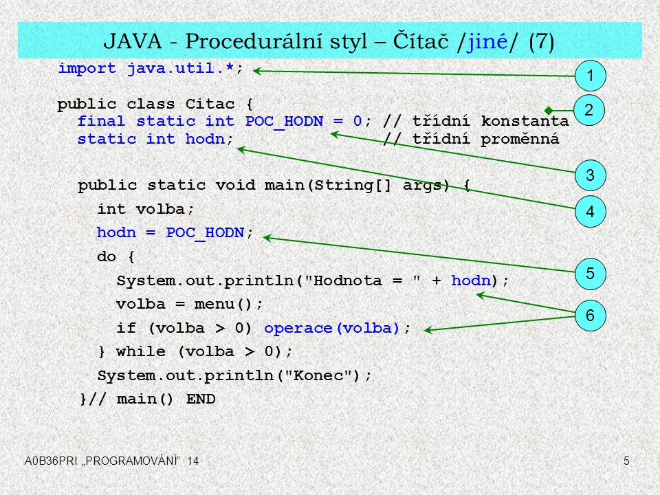 """A0B36PRI """"PROGRAMOVÁNÍ 146 JAVA - Procedurální styl – Čítač /jiné/ (7) static void operace(int op) { // pro všechny 3 operace switch (op) { case 1: hodn++; break; case 2: hodn--; break; case 3: hodn = POC_HODN; break; } static int menu(){...} }// class Citac END 7 8 globální statická"""