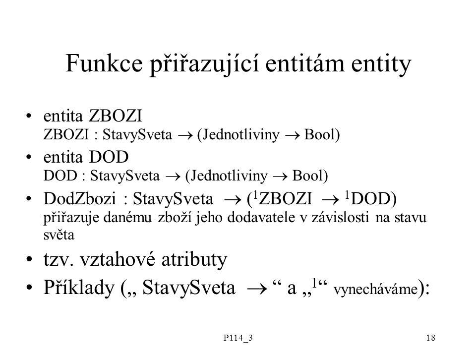 P114_318 Funkce přiřazující entitám entity entita ZBOZI ZBOZI : StavySveta  (Jednotliviny  Bool) entita DOD DOD : StavySveta  (Jednotliviny  Bool)