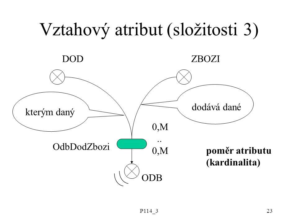 P114_323 Vztahový atribut (složitosti 3) DODZBOZI ODB kterým daný dodává dané OdbDodZbozi 0,M.. 0,M poměr atributu (kardinalita)