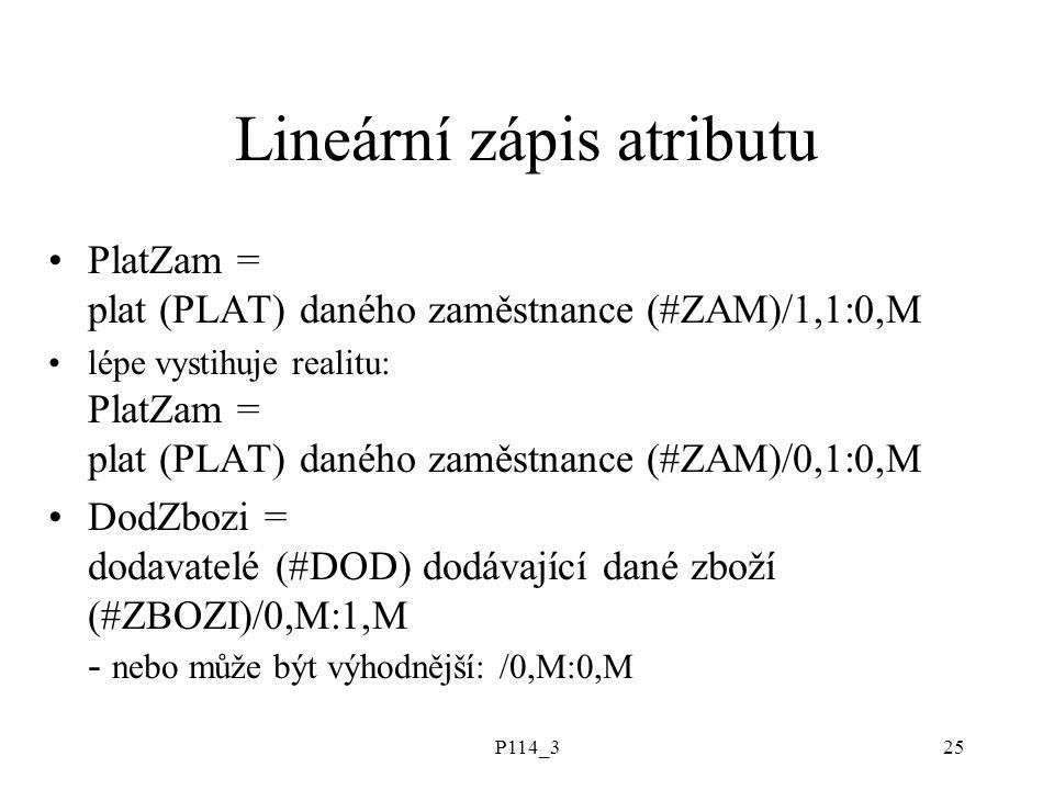 P114_325 Lineární zápis atributu PlatZam = plat (PLAT) daného zaměstnance (#ZAM)/1,1:0,M lépe vystihuje realitu: PlatZam = plat (PLAT) daného zaměstna