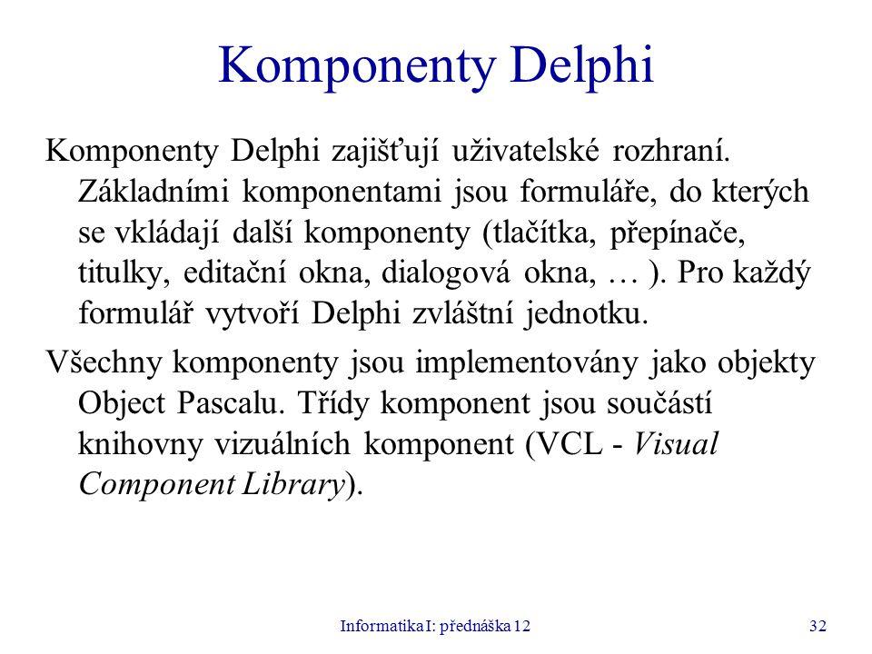 Informatika I: přednáška 1232 Komponenty Delphi Komponenty Delphi zajišťují uživatelské rozhraní.