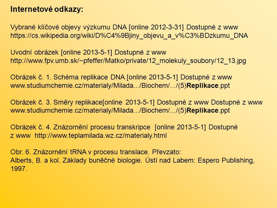 Internetové odkazy: Vybrané klíčové objevy výzkumu DNA [online 2012-3-31] Dostupné z www https://cs.wikipedia.org/wiki/D%C4%9Bjiny_objevu_a_v%C3%BDzku