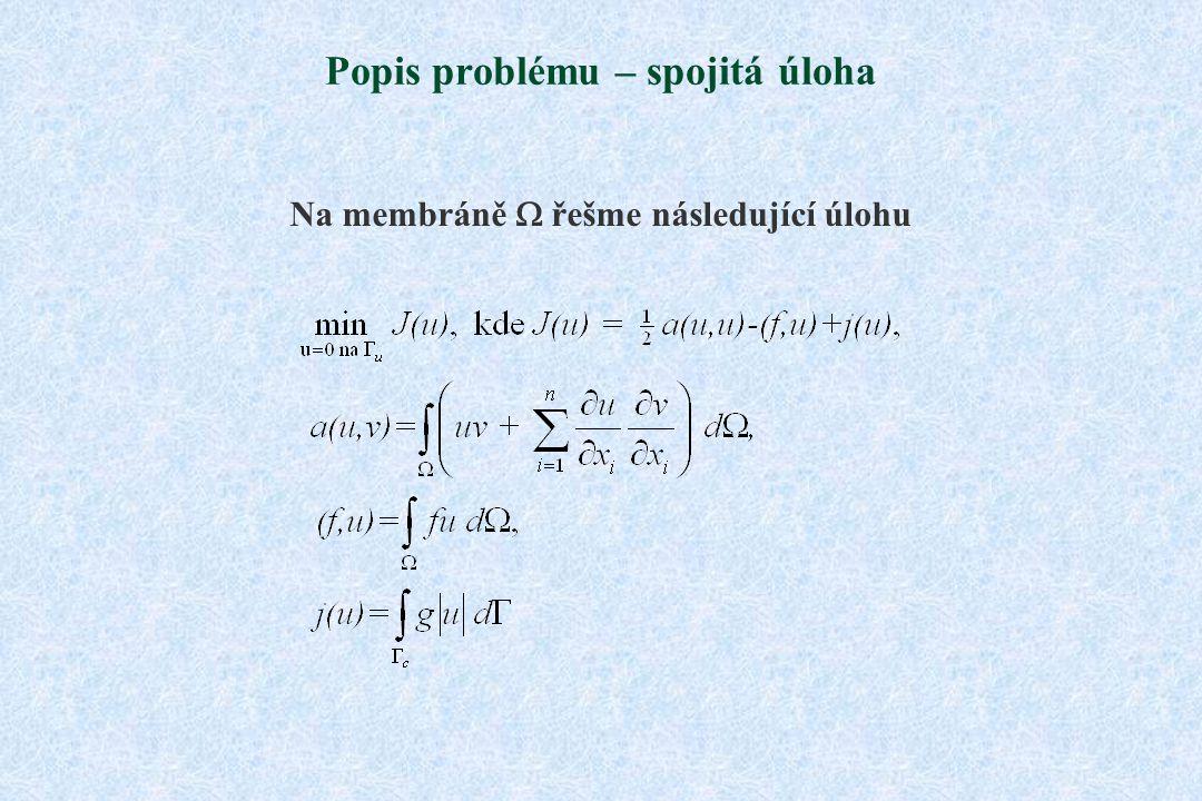 Popis problému – spojitá úloha Na membráně  řešme následující úlohu