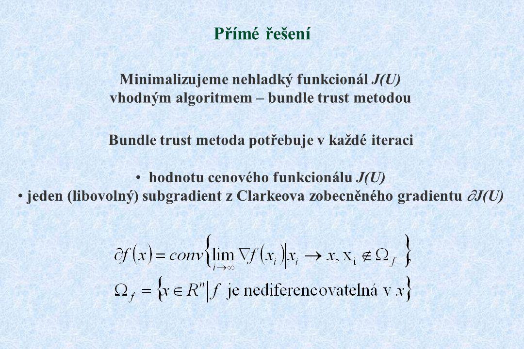 Přímé řešení Minimalizujeme nehladký funkcionál J(U) vhodným algoritmem – bundle trust metodou Bundle trust metoda potřebuje v každé iteraci hodnotu cenového funkcionálu J(U) jeden (libovolný) subgradient z Clarkeova zobecněného gradientu  J(U)