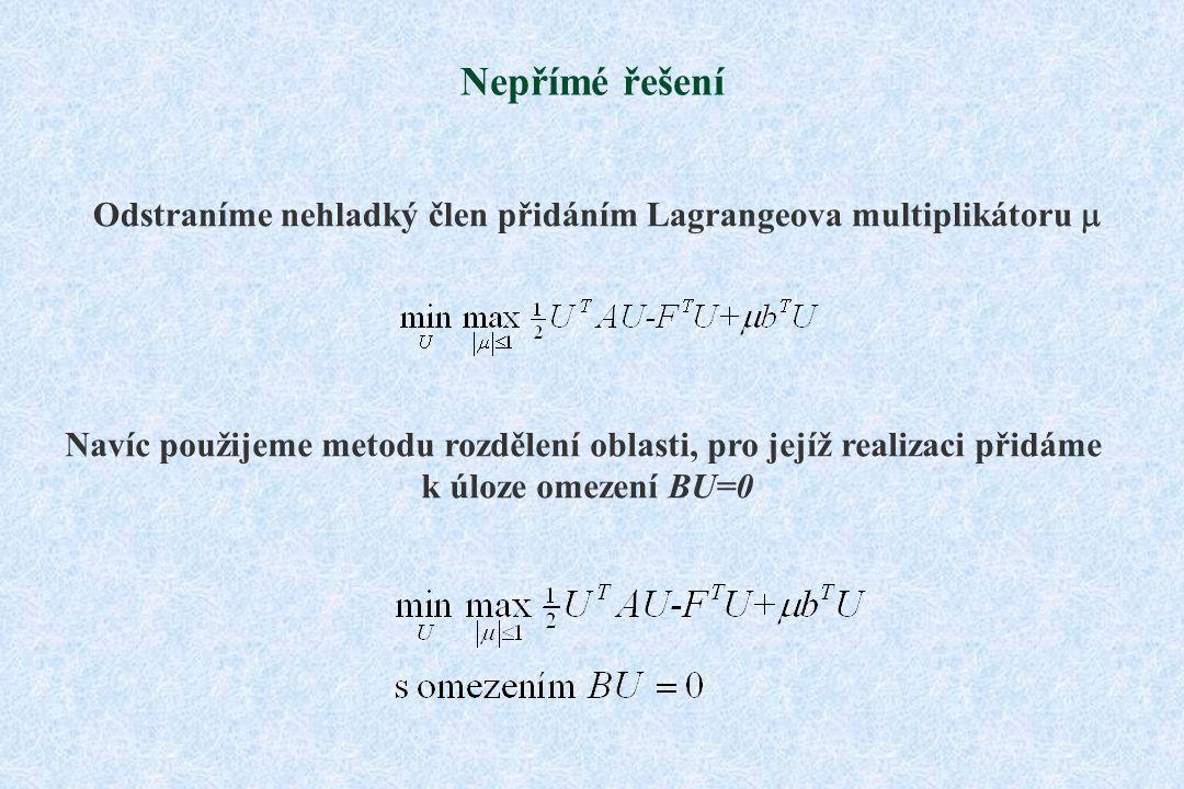 Nepřímé řešení Odstraníme nehladký člen přidáním Lagrangeova multiplikátoru  Navíc použijeme metodu rozdělení oblasti, pro jejíž realizaci přidáme k úloze omezení BU=0