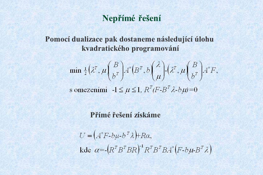 Nepřímé řešení Pomocí dualizace pak dostaneme následující úlohu kvadratického programování Přímé řešení získáme