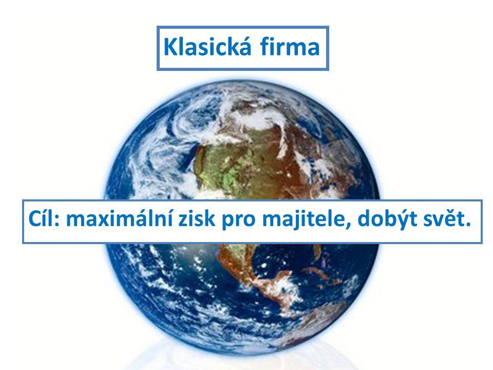 Cíl: maximální zisk pro majitele, dobýt svět. Klasická firma