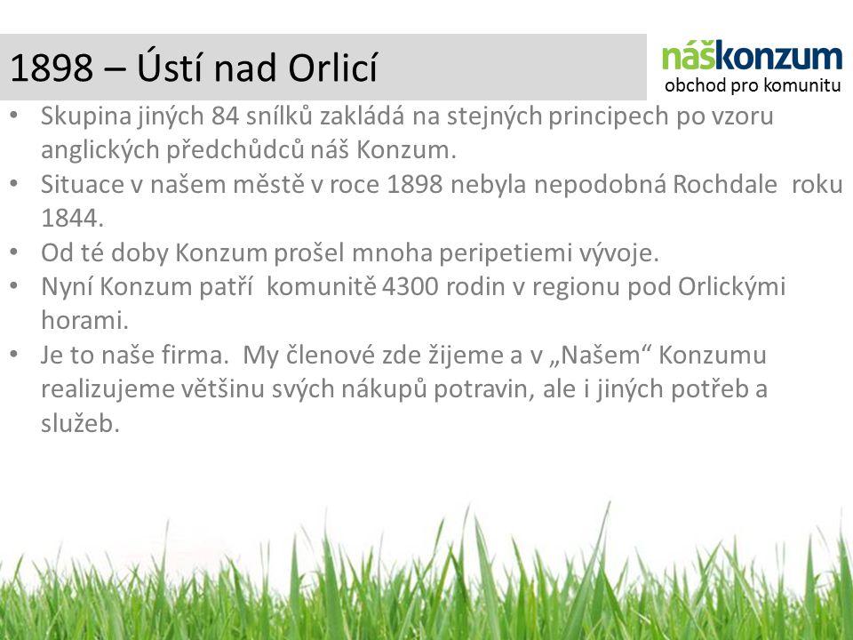 1898 – Ústí nad Orlicí Skupina jiných 84 snílků zakládá na stejných principech po vzoru anglických předchůdců náš Konzum.