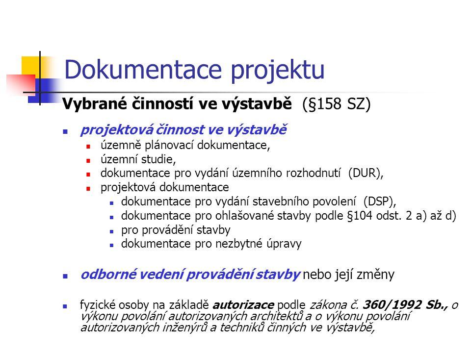 Dokumentace projektu Vybrané činností ve výstavbě (§158 SZ) projektová činnost ve výstavbě územně plánovací dokumentace, územní studie, dokumentace pr
