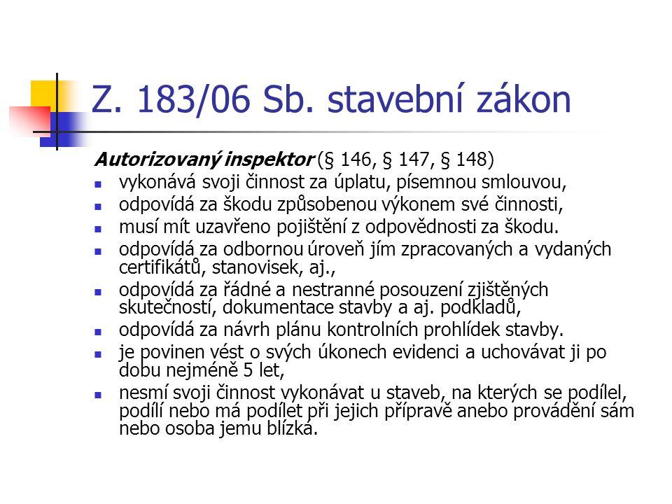 Z. 183/06 Sb. stavební zákon Autorizovaný inspektor (§ 146, § 147, § 148) vykonává svoji činnost za úplatu, písemnou smlouvou, odpovídá za škodu způso