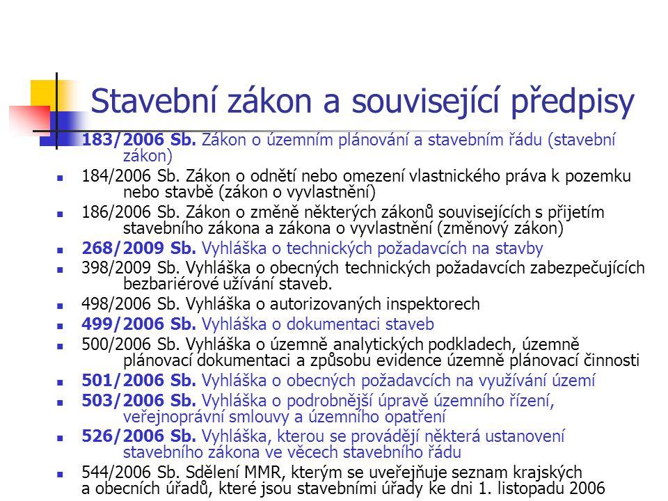 Stavební zákon a související předpisy 183/2006 Sb. Zákon o územním plánování a stavebním řádu (stavební zákon) 184/2006 Sb. Zákon o odnětí nebo omezen