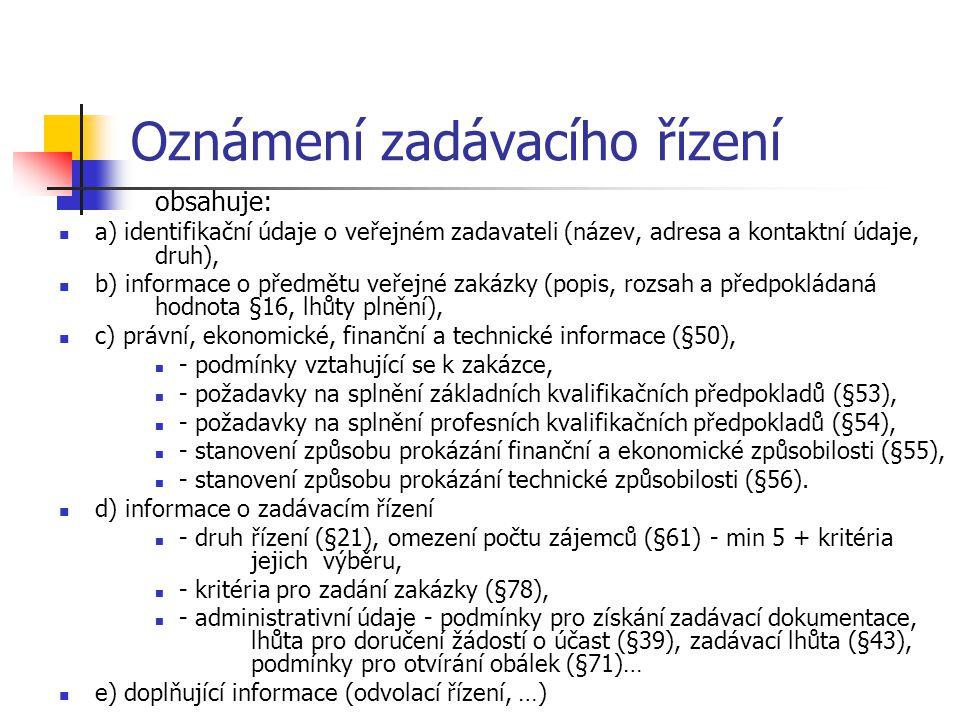 Oznámení zadávacího řízení obsahuje: a) identifikační údaje o veřejném zadavateli (název, adresa a kontaktní údaje, druh), b) informace o předmětu veř