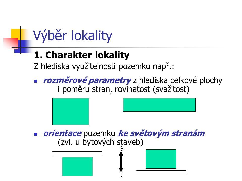 Výběr lokality 1. Charakter lokality Z hlediska využitelnosti pozemku např.: rozměrové parametry z hlediska celkové plochy i poměru stran, rovinatost