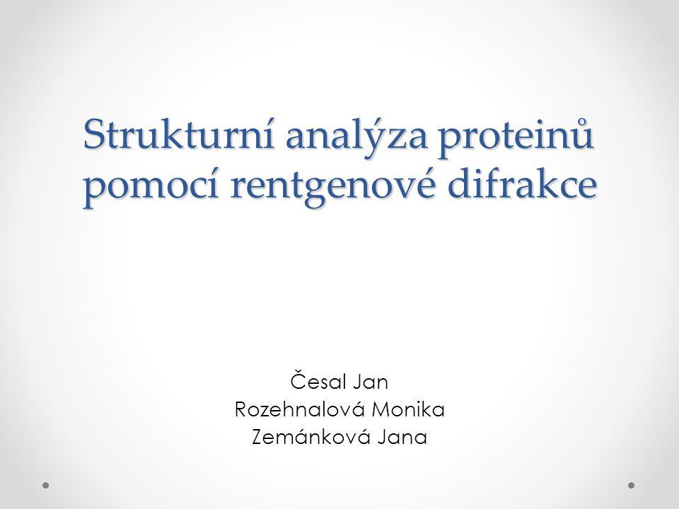 Strukturní analýza proteinů pomocí rentgenové difrakce Česal Jan Rozehnalová Monika Zemánková Jana