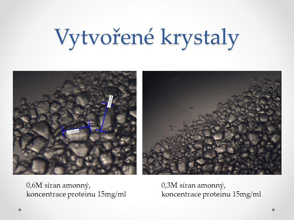 Vytvořené krystaly 0,6M síran amonný, koncentrace proteinu 15mg/ml 0,3M síran amonný, koncentrace proteinu 15mg/ml