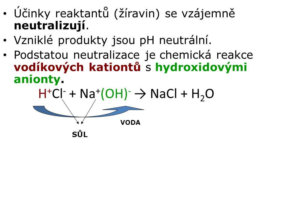 Účinky reaktantů (žíravin) se vzájemně neutralizují. Vzniklé produkty jsou pH neutrální. Podstatou neutralizace je chemická reakce vodíkových kationtů