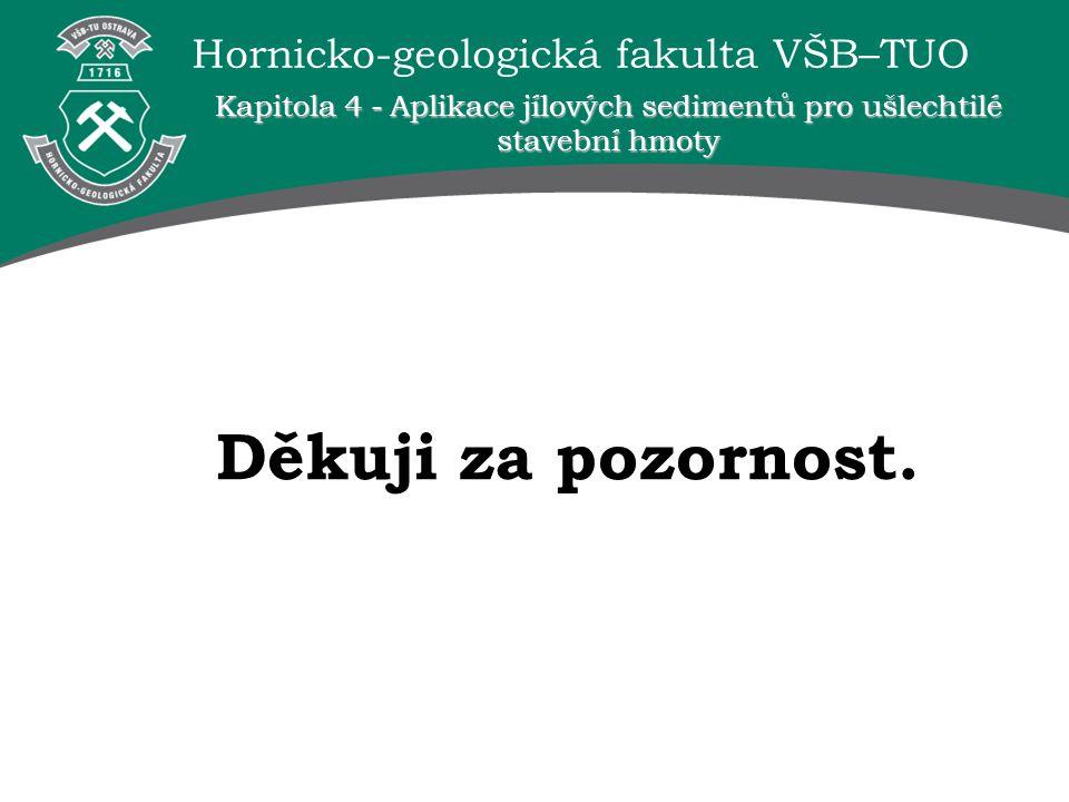 Hornicko-geologická fakulta VŠB–TUO Děkuji za pozornost. Kapitola 4 - Aplikace jílových sedimentů pro ušlechtilé stavební hmoty