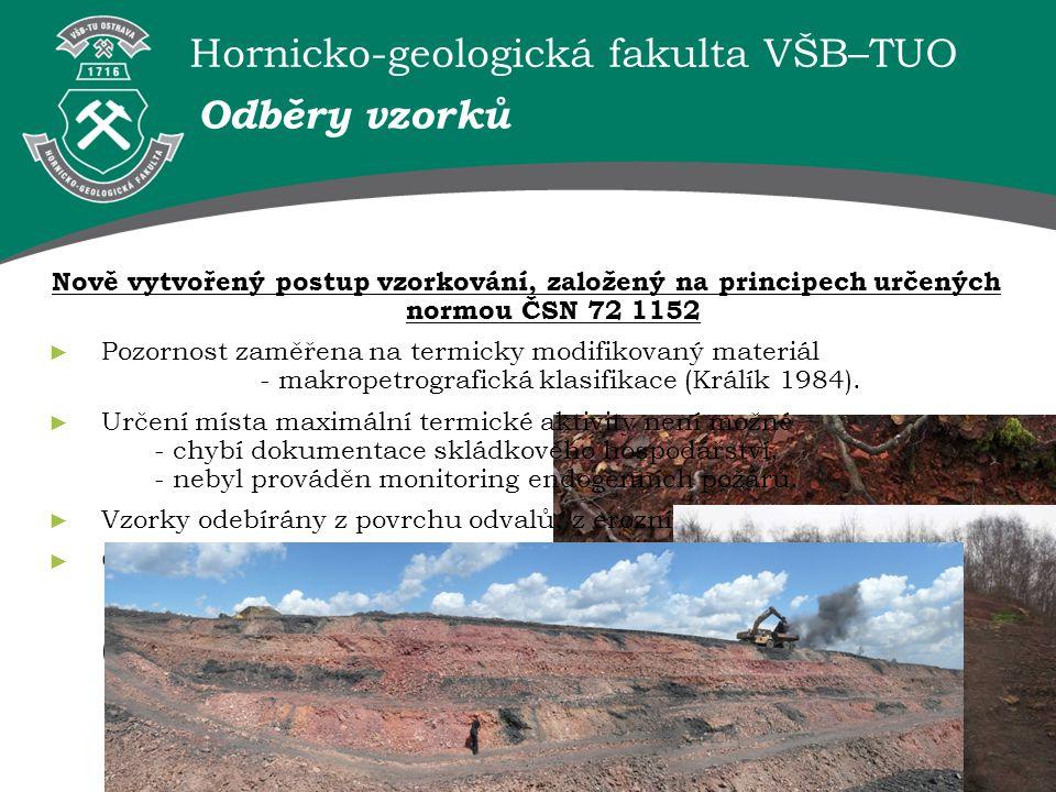 Hornicko-geologická fakulta VŠB–TUO Odběry vzorků Nově vytvořený postup vzorkování, založený na principech určených normou ČSN 72 1152 ► Pozornost zam