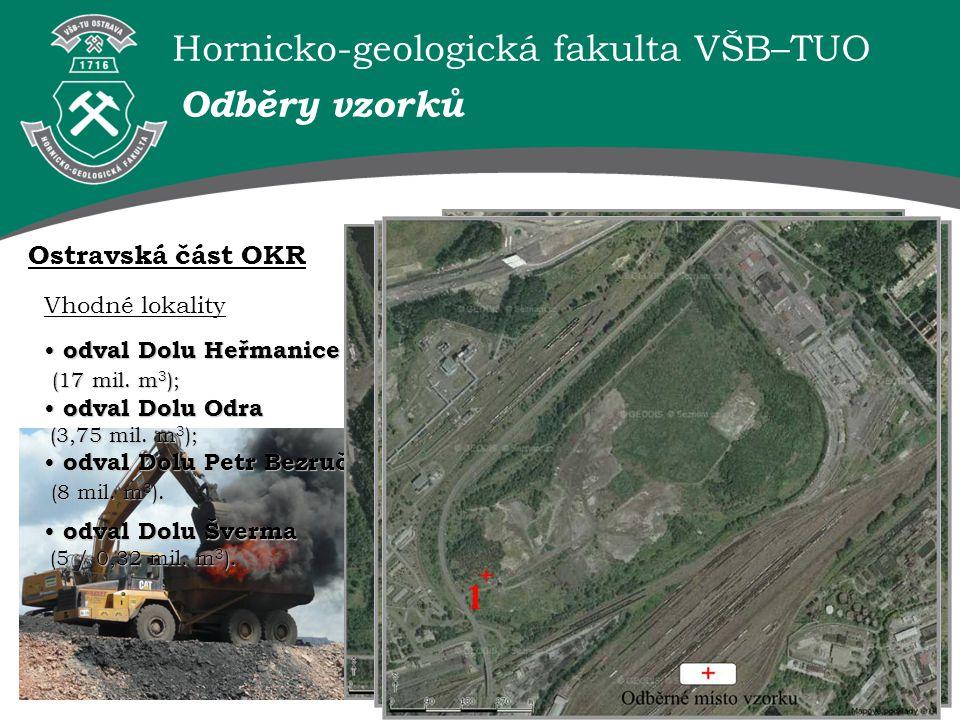 Hornicko-geologická fakulta VŠB–TUO Ostravská část OKR Vhodné lokality odval Dolu Heřmanice odval Dolu Heřmanice (17 mil. m 3 ); (17 mil. m 3 ); odval