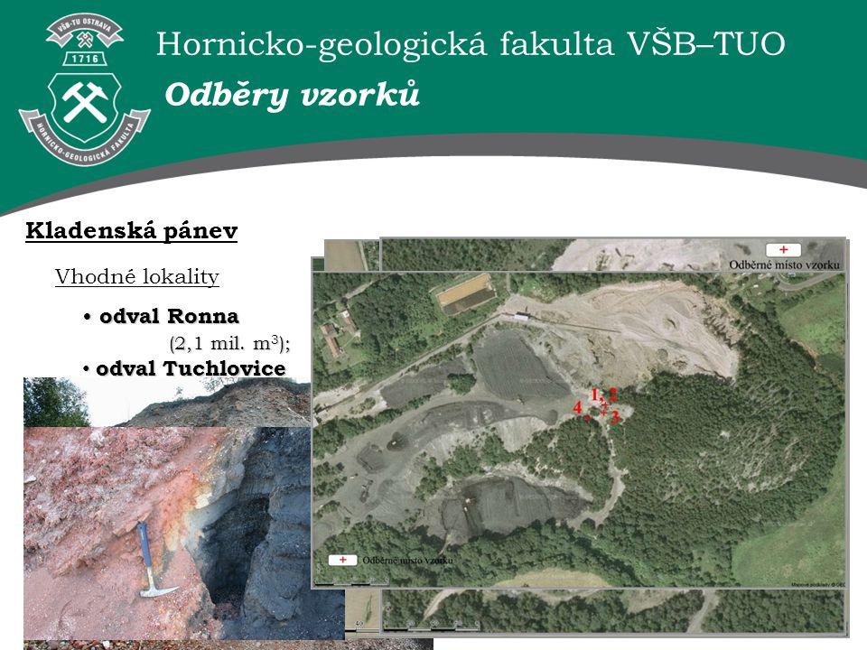 Hornicko-geologická fakulta VŠB–TUO Vhodné lokality odval Ronna (2,1 mil. m 3 ); odval Ronna (2,1 mil. m 3 ); odval Tuchlovice (18,3 mil. m 3 ) ; odva