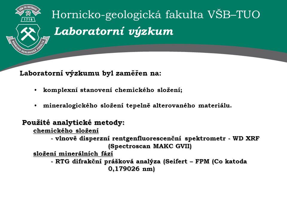 Hornicko-geologická fakulta VŠB–TUO Výsledky laboratorního výzkumu: Laboratorní výzkum Al 2 O 3 SiO 2 [%] Tuchlovice26,1262,31 Ronna26,3356,98 Odra20,3960,90 Heřmanice20,5861,24 Chemické složení Požadavky na křemenný šamot Druh žáruvzdorných hmotminerální složení produktu chemický obsah hlavních surovin použití Šamot křemenný mulit, cristobalit, tridymit, křemen 10-30% Al 2 O 3 do 1670 ˚C Šamot jílový (normální) mulit35-45% Al 2 O 3 do 1750 ˚C Šamot vysoce hlinitý mulit, cristobalit, korund45-60% Al 2 O 3 do 1840 ˚C Podle chemického složení zkoumaný materiál splňuje podmínky kladené na průmyslové ostřivo.
