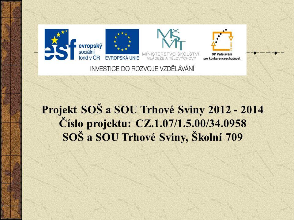 Projekt SOŠ a SOU Trhové Sviny 2012 - 2014 Číslo projektu: CZ.1.07/1.5.00/34.0958 SOŠ a SOU Trhové Sviny, Školní 709