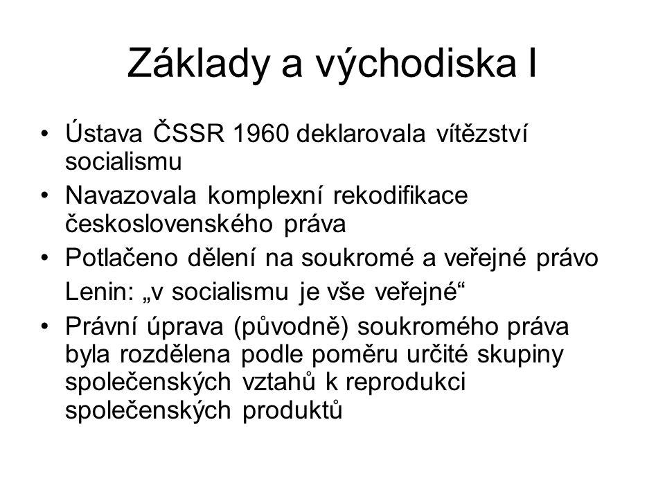 """Základy a východiska I Ústava ČSSR 1960 deklarovala vítězství socialismu Navazovala komplexní rekodifikace československého práva Potlačeno dělení na soukromé a veřejné právo Lenin: """"v socialismu je vše veřejné Právní úprava (původně) soukromého práva byla rozdělena podle poměru určité skupiny společenských vztahů k reprodukci společenských produktů"""