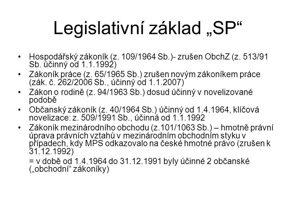 """Legislativní základ """"SP"""" Hospodářský zákoník (z. 109/1964 Sb.)- zrušen ObchZ (z. 513/91 Sb. účinný od 1.1.1992) Zákoník práce (z. 65/1965 Sb.) zrušen"""