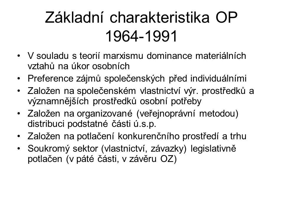 Základní charakteristika OP 1964-1991 V souladu s teorií marxismu dominance materiálních vztahů na úkor osobních Preference zájmů společenských před individuálními Založen na společenském vlastnictví výr.