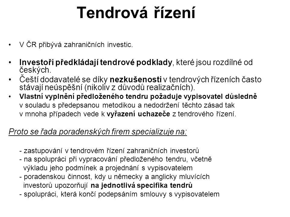 Tendrová řízení V ČR přibývá zahraničních investic.