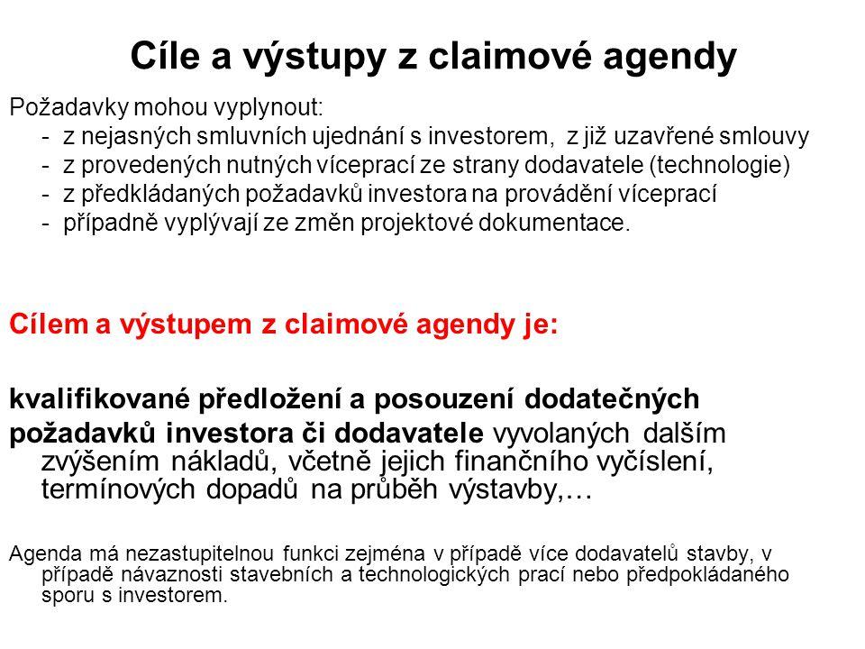 Cíle a výstupy z claimové agendy Požadavky mohou vyplynout: - z nejasných smluvních ujednání s investorem, z již uzavřené smlouvy - z provedených nutných víceprací ze strany dodavatele (technologie) - z předkládaných požadavků investora na provádění víceprací - případně vyplývají ze změn projektové dokumentace.
