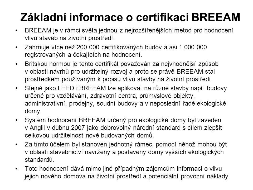 Základní informace o certifikaci BREEAM BREEAM je v rámci světa jednou z nejrozšířenějších metod pro hodnocení vlivu staveb na životní prostředí.