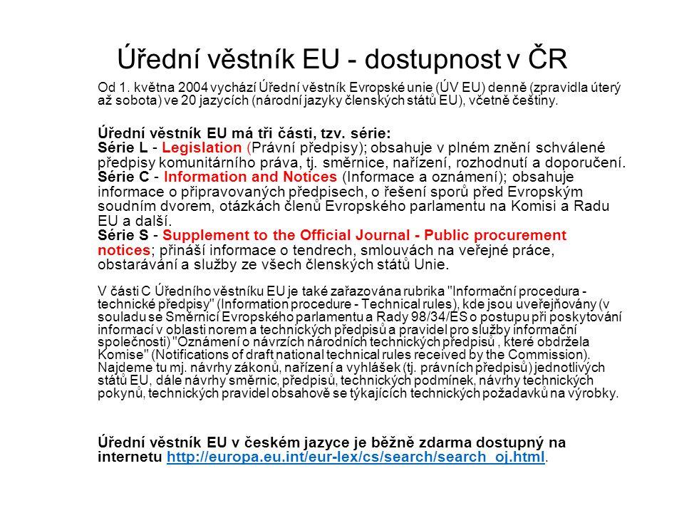 Úřední věstník EU - dostupnost v ČR Od 1.