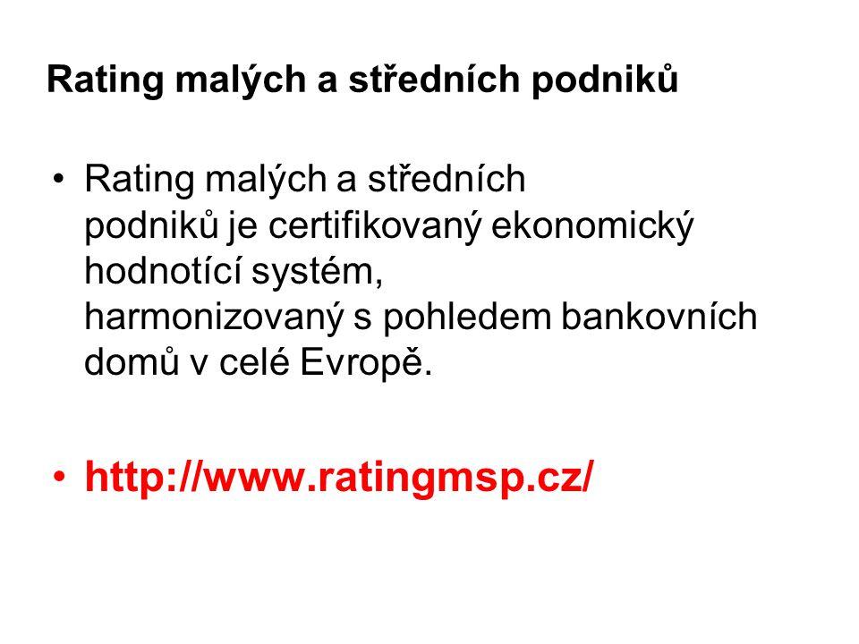 Rating malých a středních podniků Rating malých a středních podniků je certifikovaný ekonomický hodnotící systém, harmonizovaný s pohledem bankovních domů v celé Evropě.